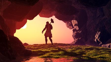 mağara: Mağarada ilkel insan.
