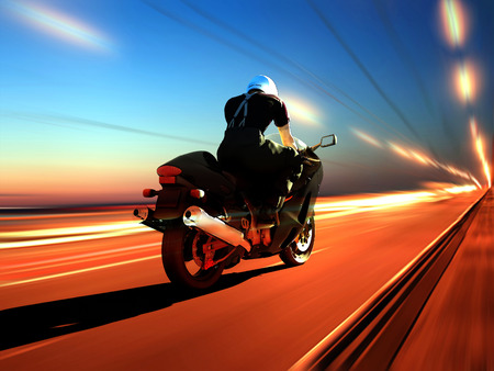 Motorcyclist on the highway. photo
