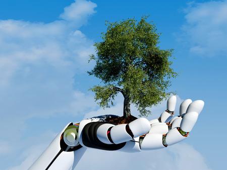 Tree on a mechanical arm.