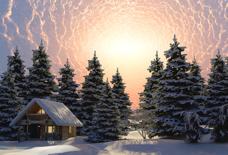 Wooden house in winter forest at night  Stock Photo
