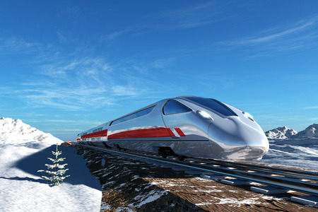 Modern train on the background of the snow landscape  Stock Photo