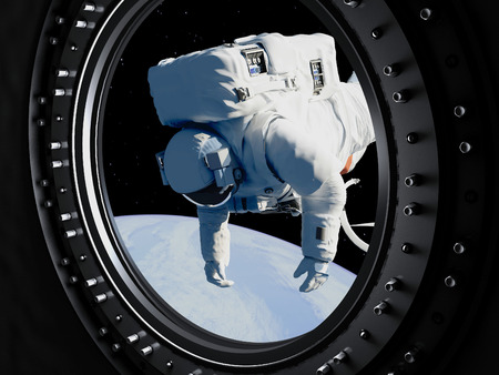 Astronaut goes through the hatch into space.Elemen ts of this image furnished by NASA