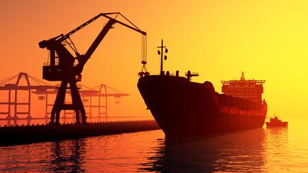 tanker ship: Tanker trucks at the port.