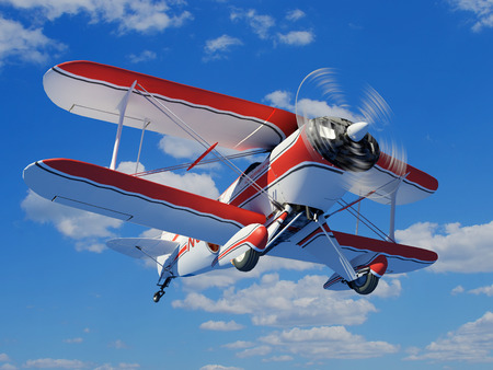Sports plane on a sky background.