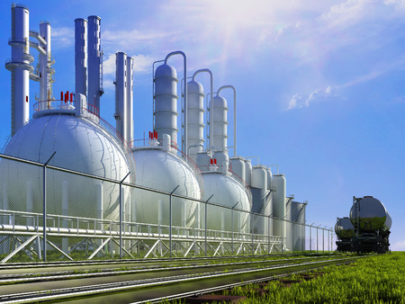 industrial products: Spherical container plant on the grass.