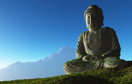 buddha image: Buddha statue in the landscape.