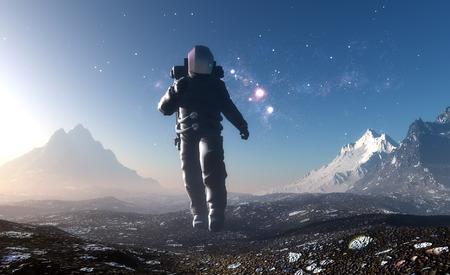 Astronaut runs on background of mountain lanshafty.