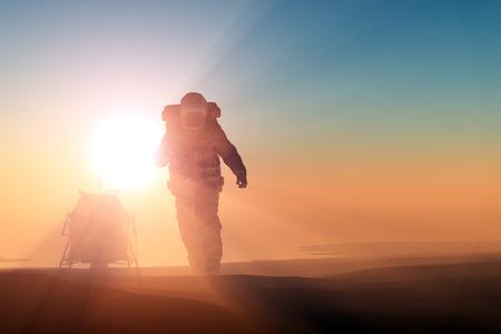 the runs: Astronaut runs on the planet.