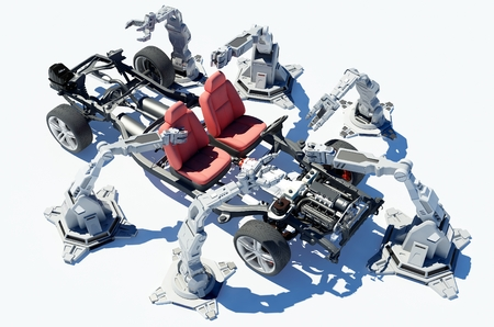 mechanical parts: Robots group collected modern car. Stock Photo