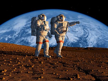 Groep van astronauten zijn op de planeet. Stockfoto