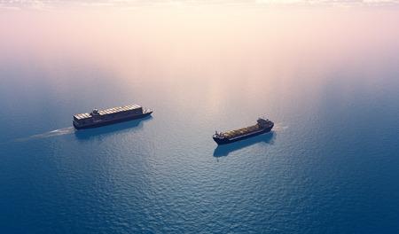 Pétroliers du groupe se déplacent dans la mer. Banque d'images - 26334881
