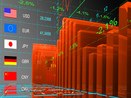 currency exchange: Tables and charts currency exchange rates. Stock Photo