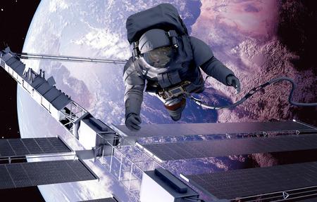 Astronaut in space around the solar battarei.