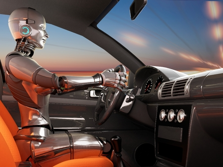 Cyborg in a modern car. Banque d'images