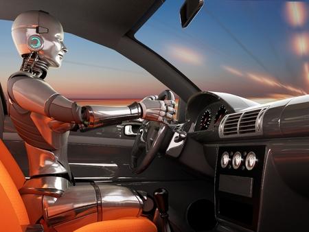 Cyborg in een moderne auto.