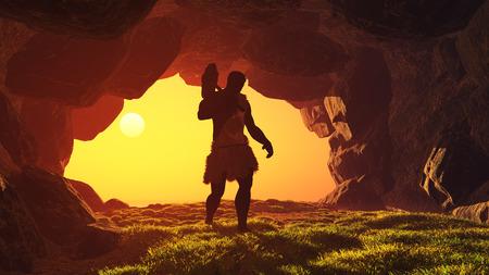 Silueta del hombre prehistórico en la cueva.