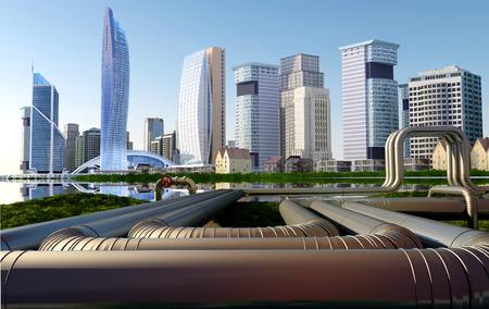 paesaggio industriale: Tubo sullo sfondo dei grattacieli.