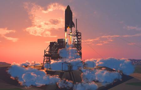 De lancering tegen de hemel.