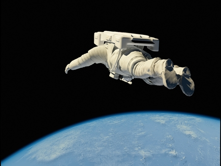 Astronaut flying over the planet.Elemen ts of this image furnished by NASA