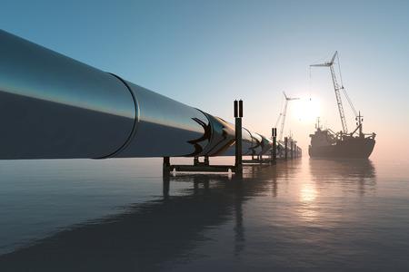 refinería de petróleo: Construcción de la tubería en el mar.