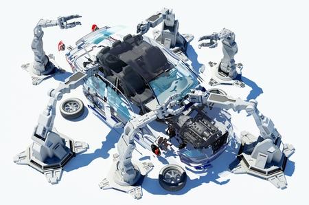 asamblea: Grupo Robots recoge coche moderno. Foto de archivo