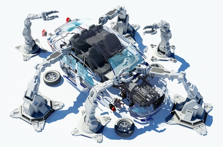 collected: Robots group collected modern car. Stock Photo