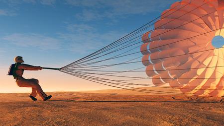fallschirm: Parashutist einen Fallschirm in den Himmel.