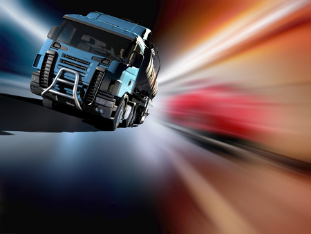 Truck driven by fuel on the road. Stock Photo