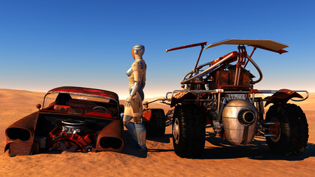 bolide: Cyborg between the old and the modern machines in the desert.