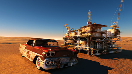 Rusty car and station in the desert. photo