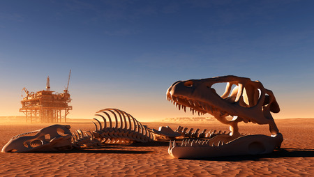 Dinosaur skeleton and the oil station in the desert.