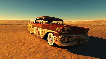 Roestige auto in de woestijn. Stockfoto
