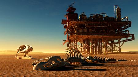squelette de dinosaure et la station de pétrole dans le désert.