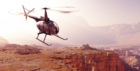 civilian: Civilian helicopter over the mountains.