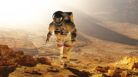 nasa: The astronaut  on the background of the planet.Elemen ts of this image furnished by NASA Stock Photo