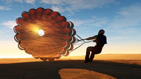 parachuting: Parashutist a parachute in the sky.