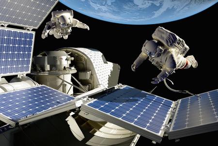 """Astronauten in de ruimte rond het zonnestelsel battarei. """"Elemen ts van deze afbeelding geleverd door NASA"""""""