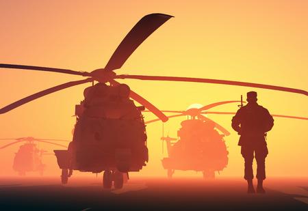 Een groep van militaire helikopters en het silhouet van een soldaat.