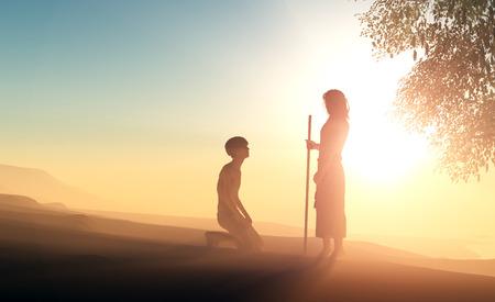 Silhouet van een man op zijn knieën voor Jezus. Stockfoto