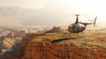 helicopter rescue: Civilian helicopter over the mountains.