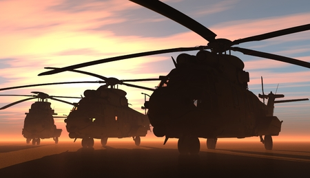 A group of military helicopters.