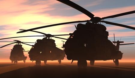 Een groep van militaire helikopters.