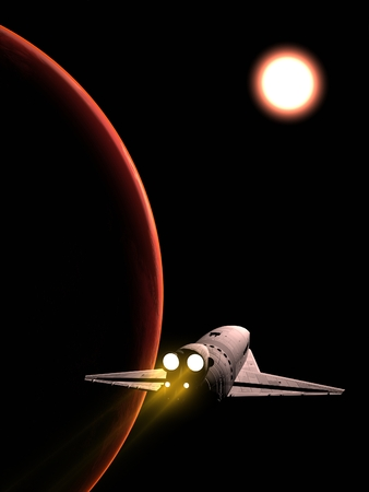 The space ship in outer space