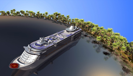 anchored: The modern liner   near the tropical coast.