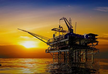 La production de pétrole dans la mer de nuit. Banque d'images - 29290994