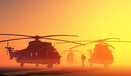 Un groupe d'hélicoptères militaires. Banque d'images - 29290995