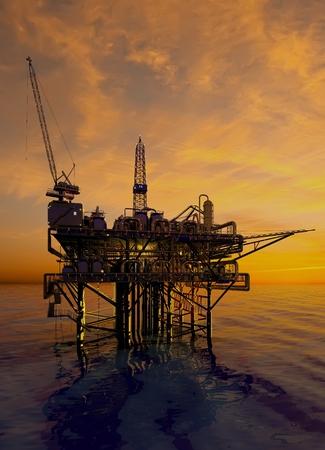 De olieproductie in de nacht zee. Stockfoto