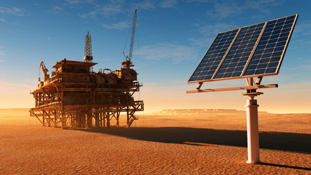 Solar panel station and the old oil-producing desert. Foto de archivo