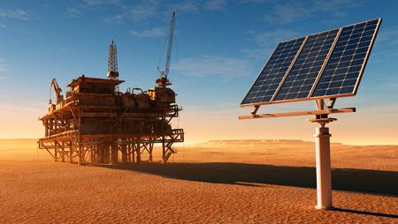 Zonnepaneel station en de oude olie-producerende woestijn. Stockfoto