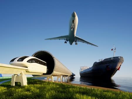 Trein, vliegtuig en tanker op de wal.